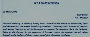 In the court of Session the intredict